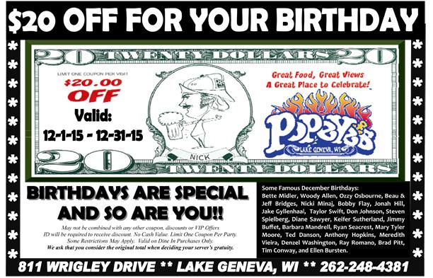 Popeyes Birthday Post Card